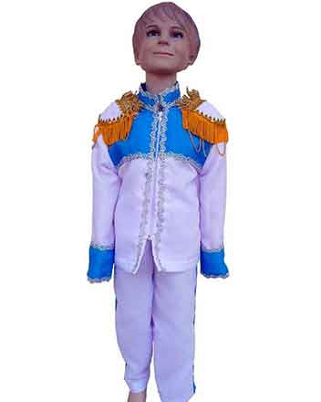Perfect drum-major boy dress blue and white with shoulder pads,